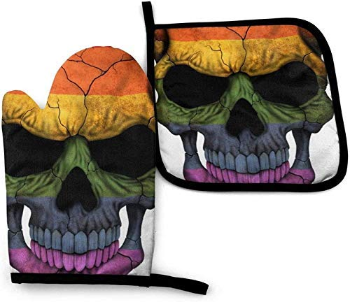 wenxiupin Calavera rayada húngaro Dj Skull guantes de horno microondas y soportes para ollas, juego de funda de aislamiento térmico manta alfombrilla de guantes antideslizantes para barbacoa