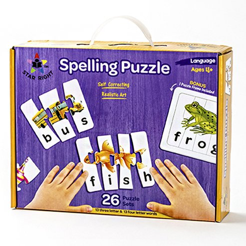 Star Right Educational Spelling Puzzle Game with Realistic Art, Learning Toys for Ages 4+, 3 and 4 Letter Words, Set of 26 (91 Pieces) with 1 Puzzle Frame Included