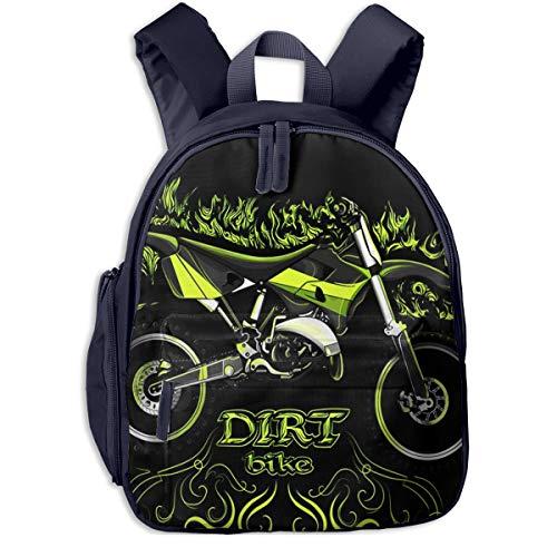 Kinderrucksack Kleinkind Jungen Mädchen Kindergartentasche Motocross Dirt Bike Grün Backpack Schultasche Rucksack