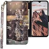 CLM-Tech Hülle kompatibel mit Xiaomi Mi 9 SE - Tasche aus Kunstleder - Klapphülle mit Ständer & Kartenfächern, Katze Tiger grau