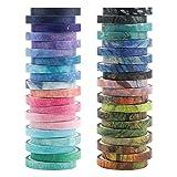 Set de cintas Washi,40 rollos de cinta Washi decorativa con varios patrones, cintas decorativas para enmascarar, juego de cintas Washi, cinta adhesiva decorativa adhesiva de papel adhesivo