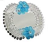 Espejo veneciano de cristal de Murano fabricado en Italia, 14 x 17 cm, color plateado y azul