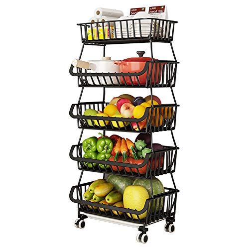 BRIAN & DANY Cestas de Frutas y Verduras Colgantes de 5 Niveles con Rueda-Organizador de La Cesta, 5 pcs S-Hooks, Pizarras Extraíbles, Cocina, Frutas, Verduras, Artículos de Tocador, Negro