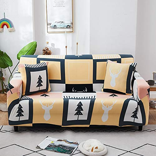 ASCV Strech Sofa Schonbezüge Elastische Sofabezüge für Wohnzimmer All-Inclusive rutschfeste Couchbezug L-Form Ecke A11 2-Sitzer