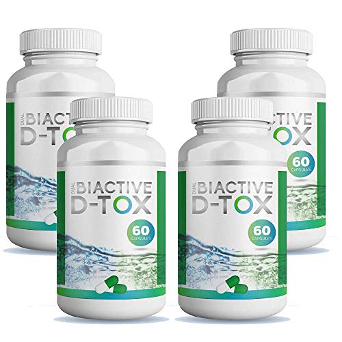 Dual Biactive D-tox - Colon Cleanse Detox to Support Weight Loss, Boost Energy Levels & Constipation Relief for Men & Women, Set of 4 Bottles, Total 240 Capsules (4)