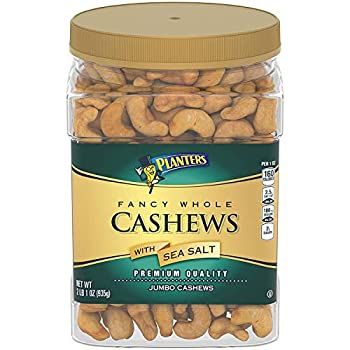 PLANTERS Fancy Whole Cashews with Sea Salt 33 oz Resealable Jar - Snack for Adults Made with Simple Ingredients - Good Source of Essential Nutrients - Kosher