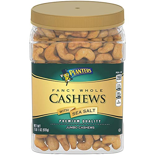 Planters Fancy Whole Cashews With Sea Salt, 33 Oz. Resealable Jar - Snack For Adults Made With Simple Ingredients - Good Source Of Essential Nutrients - Kosher
