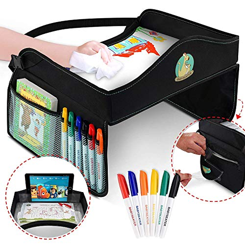 BABYSEATER Kids Travel Tray with Markers and Dry Erase Board - Car Seat Tray for Toddler Travel Toys - Kids Travel Activity Trays for Kids - Road Trip Essentials Kids - Car Accessories for Kids