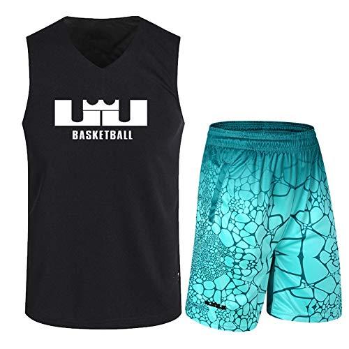 Haoshangzh55 Jerseys De Baloncesto/Lebron James Traje De Entrenamiento Deportes Y Ocio Fitness Transpirable Chaleco Sin Mangas,Verde,2XL