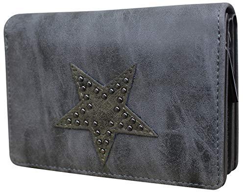 Damen Luxus Canvas Stern Geldbörse Geldbeutel Brieftasche Portemonnaie Damenbörse Börse (M3 Betongrau)