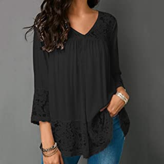 QGTCLOTHING Lace Stitching Shirt V-neck Cropped Sleeve T-shirt, Size:5XL(White) (Color : Black, Size : 4XL)