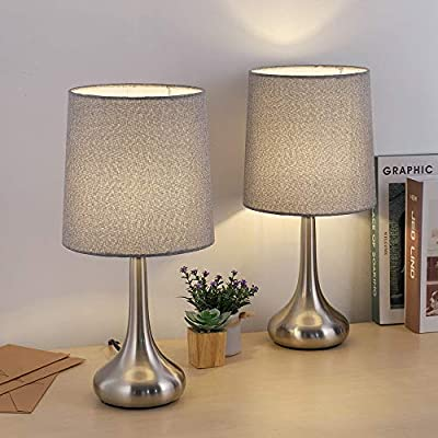 Bedside Table Lamps, Desk Lamps Brushed Nickel Nightstand Lamps with Grey Fabric Shades for Living Room Family Bedroom Bedside Office(Set of 2)