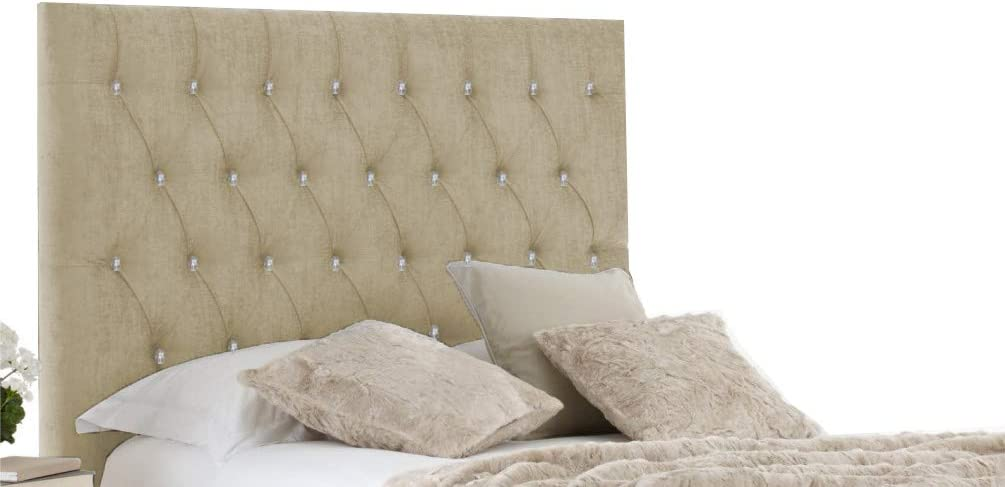 Brown - Diamante 3FT Single-20 H-Cube Furniture Chesterfield Chenille Divan Bed Base Headboard Matching Diamante Buttons Various Heights Wall Mounted