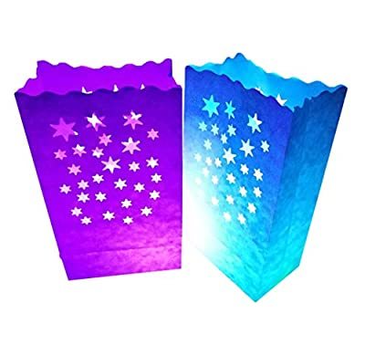 24 Pack Luminary Bags - Sunburst Design Candle Bags - Fire-Retardant Light Holder - Decorations for Wedding, Halloween, Birthday, New Year, Party, Dinner and Event Occasion - White
