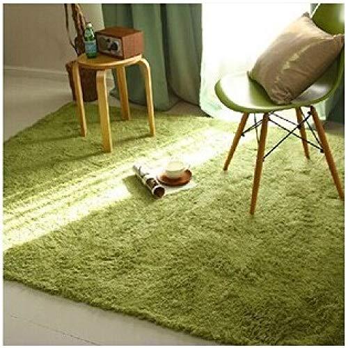 XIEPEI 2019 Gewaschene Seide Haar rutschfeste Teppich Wohnzimmer Couchtisch Schlafzimmer Nacht Yoga-Matte dicken Teppich grün 120 * 160cm