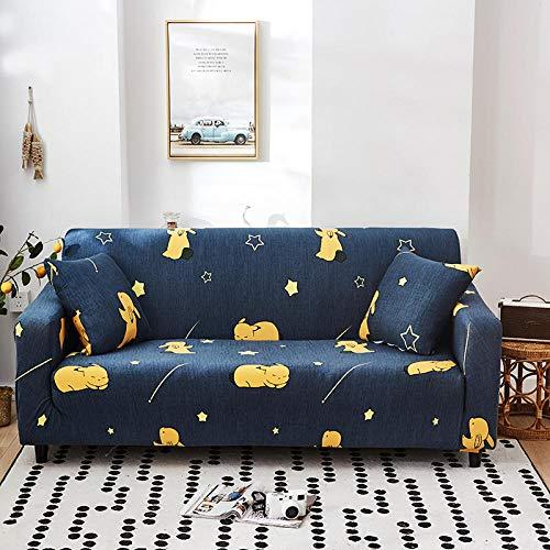 Funda Elástica de Sofá Cubre Antideslizante/Protector Ajustables de Sofá, Decorativas Fundas Dibujos Animados Azul Impresa -para Sofas, con Cuerda de Fijación(3 Plazas:175-220cm)+1 Fundas de Almohada