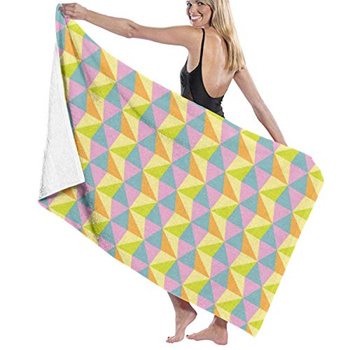 Yaxinduobao Seamless Abstract Colorful Triangle Pattern Soft Toalla de baño Highly Absorbent Multipurpose Towels Oversized Toalla de Playa for Travel Bathroom Hotel Gym SPA 31'x 51'