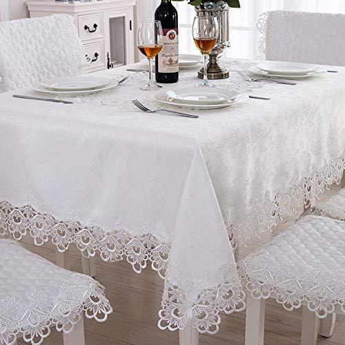 ASDFF Manteles Manteles Bordados en Color Liso clásico Europeo con patrón de Encaje Rectángulo y manteles Redondos Suaves 90cm Cuadrado Blanco