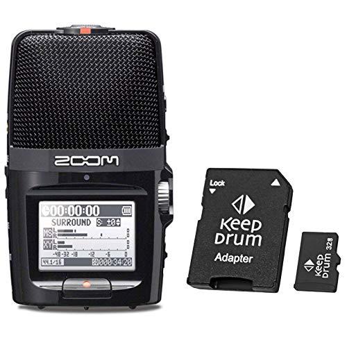 Zoom H2n - Registratore audio per cellulare + scheda di memoria micro SD Keepdrum da 32 GB
