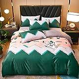 Bedding-LZ Juegos de sábanas de 90 de Oferta,Sketch Wash Wash Silk 4 Set Ice Silk Spring Summer Summer Supplies-A_Cama de 150 cm (4 Piezas)