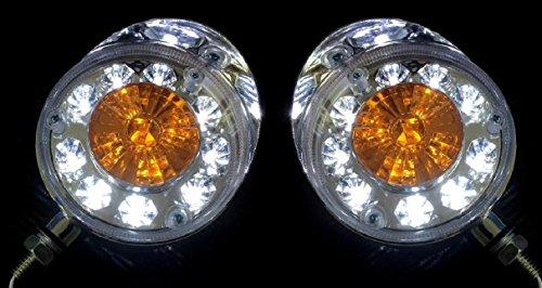 2 x LED 24 V Blanc/orange lumières WY Toit côté lamps Chrome boîtier Camion Remorque Chassis Bus van camping-car