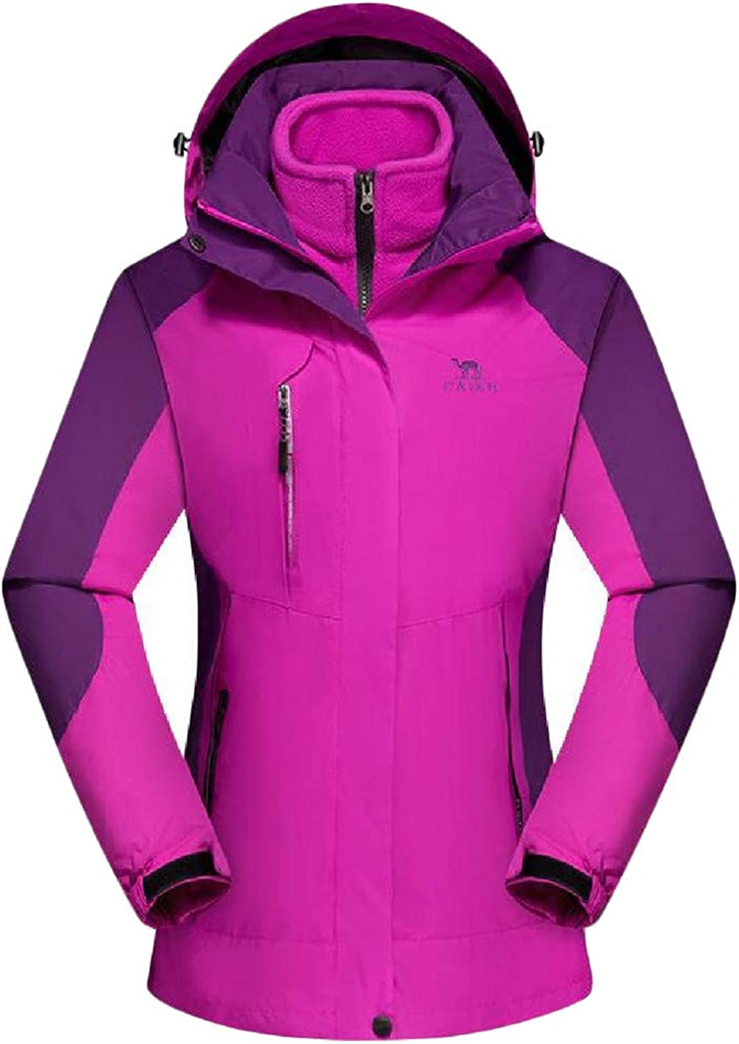 XiaoTianXinWomen XTX Women Windproof Padded Winter Hooded Outdoor 3in1 Contrast color Raincoats Jacket