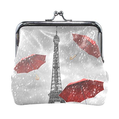 LIANCHENYI Paris Eiffelturm mit roten fliegenden Regenschirmen Münzgeldbörse Mini-Geldbörse für Damen Mädchen Damen