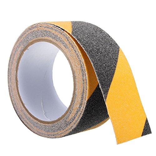 SAFETYON Cinta de Antideslizante 50MM x 5M PVC para Escaleras Piscina Negro+Amarillo