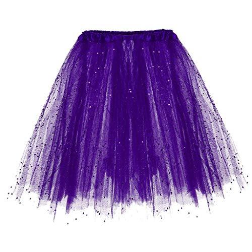WOZOW Damen Tüllrock Einfarbig Pailletten Dancewear Performance Tutu Cosplay Party Petticoat Karneval Fasching Frauen Kostüm Röckchen (Einheitsgröße(Taille:50-110cm),Dunkelviolett)