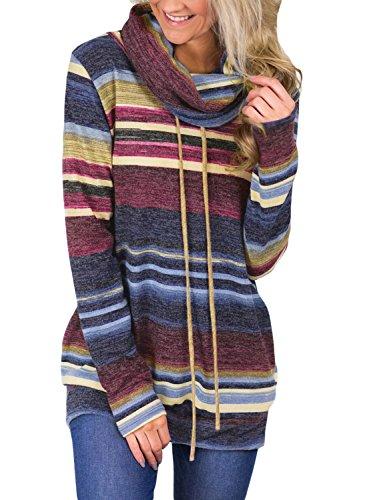 GOSOPIN Damen Sweatshirt Gestreift Rollkragen Loose Tops Farbblock Langarm Herbst Tunik S-XXL, #2, X-Large(EU48-50)