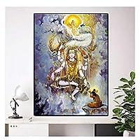 Suuyar キャンバス絵画宗教的な家の装飾の写真リビングルームの装飾のためのシヴァ仏の壁の芸術にシヴァ人が祈る-60X80Cmフレームなし