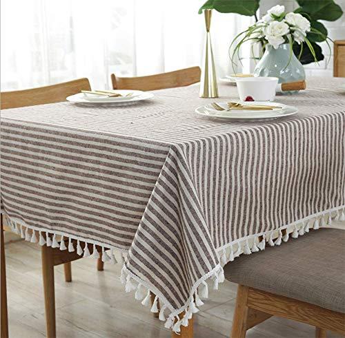WL ZHUOBU Tischtuch, einfache Streifen, Fransentuch, Baumwolle und Leinen Tischtuch