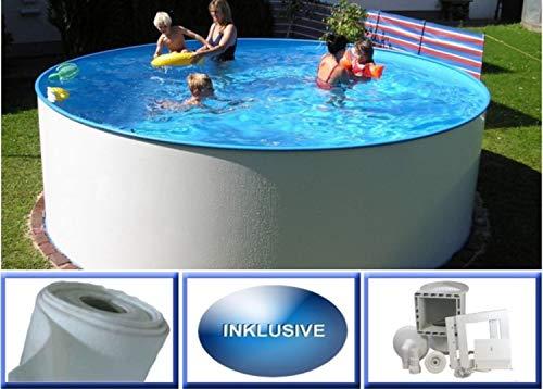 Summer Fun Stahlwandbecken Set Miami Basic rund ø 3,00m x 1,20m Folie 0,4mm Spar Set Pool Rundpool / 300 x 120 cm Stahlwandpool