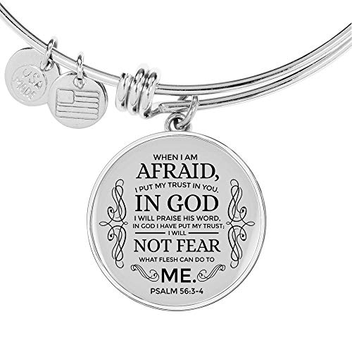 Express Your Love Gifts Trust in God Stainless Steel Oro 18k Circle Bangle Pulsera