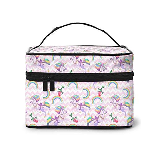 Bolsa de cosméticos para el pelo de unicornios blancos con arco iris, divertida, de viaje, de tren de maquillaje, para mujeres y niñas