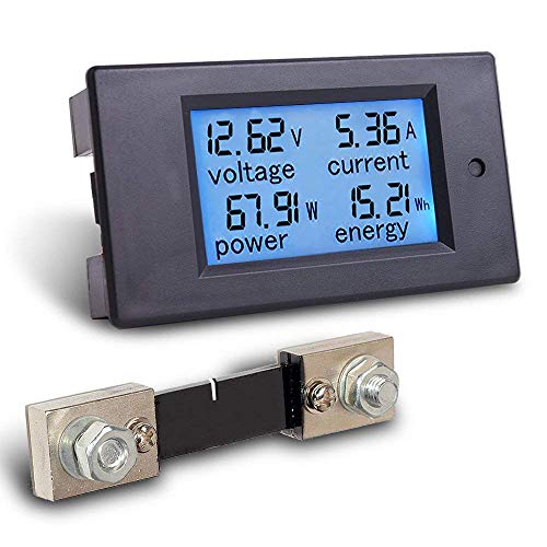 Read About 4-in-1 DC Electricity Usage Monitor,DC 6.5-100V 0-100A LCD Display Digital Current Voltag...