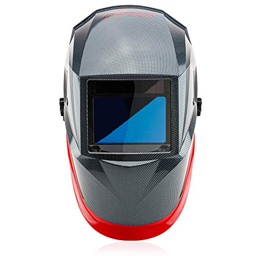 Welding Helmet by Aver | Auto Darkening Welder Helmet Lens Solar Powered Graphic Carbon Fiber Welding Hood Best Optical Class 1/1/1/1 Shade Range 4/9-13 Mig Tig Arc