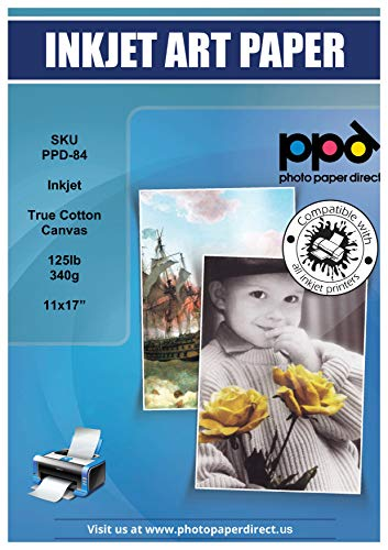 PPD Inkjet Canvas 100% Real Printable Cotton Canvas 11 x 17' 125lbs. 340gsm 17mil x 10 sheets (PPD084-10)