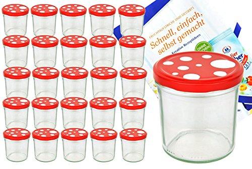 MamboCat 25er Set Sturzglas 350 ml to 82 Fliegenpilz Deckel rot weiß gepunktet incl. Diamant Gelierzauber Rezeptheft Marmeladenglas Einmachglas Einweckglas