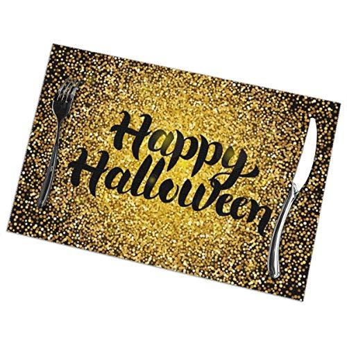 Happy Halloween Tovagliette d'oro per Tavolo da Pranzo Set di 6 Pezzi in Poliestere Lavabile 12x18 in tovagliette tessute in Vinile Resistenti al Calore per Decorazioni per tavoli da Cucina