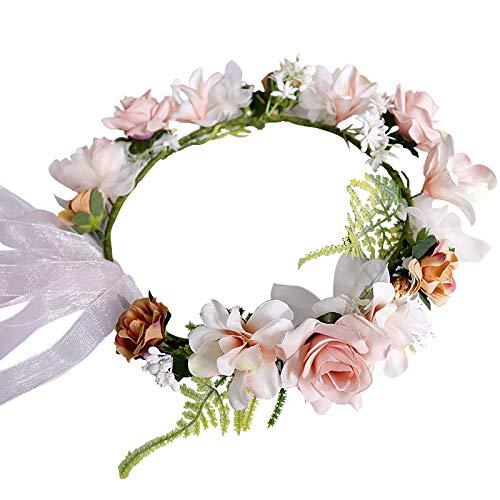 Flower Headband, GEASON Flower Headband Wreath Crown Floral Wedding Garland Wedding Festivals Photo Props (Flower-0)