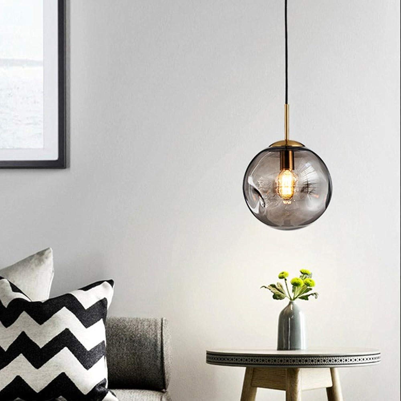Nordic Pendelleuchte Track Line Light Kronleuchter kreative Glaskugel einfach für Schlafzimmer Bett Arbeitszimmer Restaurant, grau-1 Light