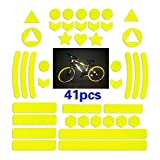 Mirrwin Adesivi Catarifrangenti Kit Adesivi Catarifrangenti Bici Adesivo Adesivi Impermeabili Catarifrangenti Adesivo Universale per Bici Auto Passeggino, Casco Moto Scooter Giocattoli 41 Pezzi