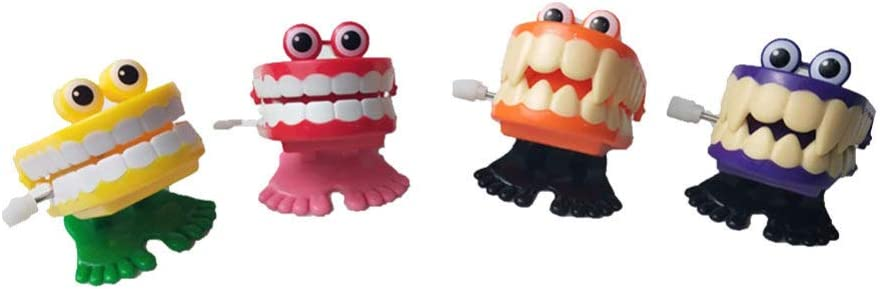 Toyvian 4pcs Chattering Teeth with Wind Chompi Up New Columbus Mall item Christmas Eyes