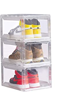 3 Pack Shoe Storage Box Clear Plastic Shoe Boxes Stackable Shoe Organizer for Men and Women