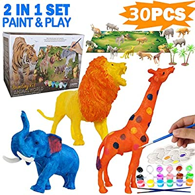 Yileqi 30Pcs Animal Painting Kit for Kids Arts and Craft Set, Paint Your Own Animal Toy Crafts and Art Supplies Party for Boys Girls Age 4 5 6 7 8 Years Old Kid Creative Activity DIY Birthday Gift
