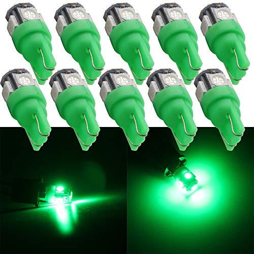 Qasim 10x LED T10 W5W 194 Bombillas Verde 5050 5SMD 168 para Automóvil Luz Interior Salpicadero del RV Luz de la Placa Techo Luces Lateral DC 12V