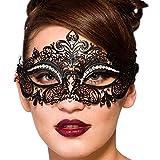 Campsis Sparkly Rhinestone Mardi Gras Masquerade Mask Black Laser Cut Metal Mask Halloween Venetian Party Nightclub for Women and Girls