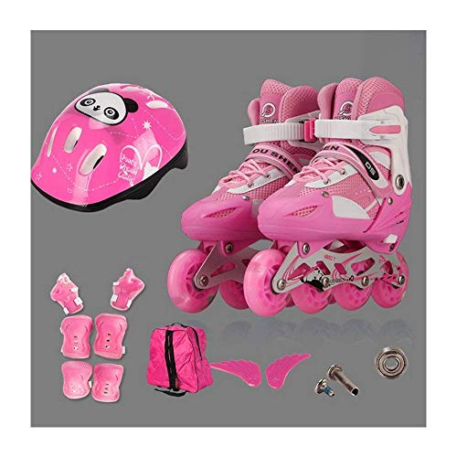 HAOLIN Einstellbare Full Flash Kinder Single Allrad Rollschuhe Skating Schuhe Set,Pink-S