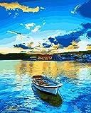 WONZOM Pintar por Numeros DIY Acrílica Pintura Kit para Adultos y Niños Principiantes - 16 * 20 Pulgadas Lago Azul y Barco con 3 Pinceles y Colores Brillantes Sin Marco